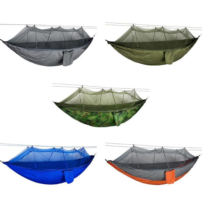 Camping Hammock With Mesh Cover Outdoor Mosquito Net Parachute Hammock Camping Hanging Sleeping Bed Swing Camp Sleeping Gear Sleeping Bags