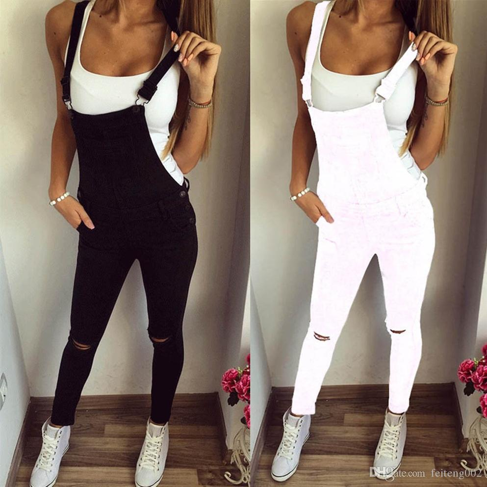 New High Quality Fashion Women Loose Trousers Jumpsuit Jeans Denim Bib Hole Pants Overalls #Y #558187