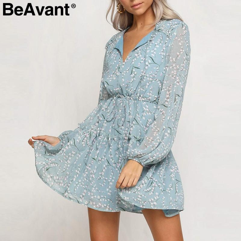 a2eff792832d BeAvant estampado floral corto vestido de verano de las mujeres con  cordones cuello gasa vestidos de manga larga con volantes vestido boho  ocasional ...