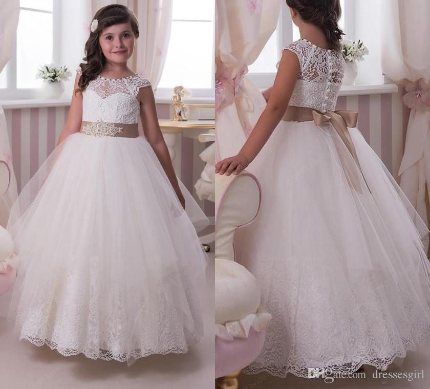 6c775e4d1 Lovely Lace Flower Girl Dresses With Champagne Bow Sash Appliques A Line  Tulle Girls Pageant Dress First Communion Dress White And Red Flower Girl  Dresses ...