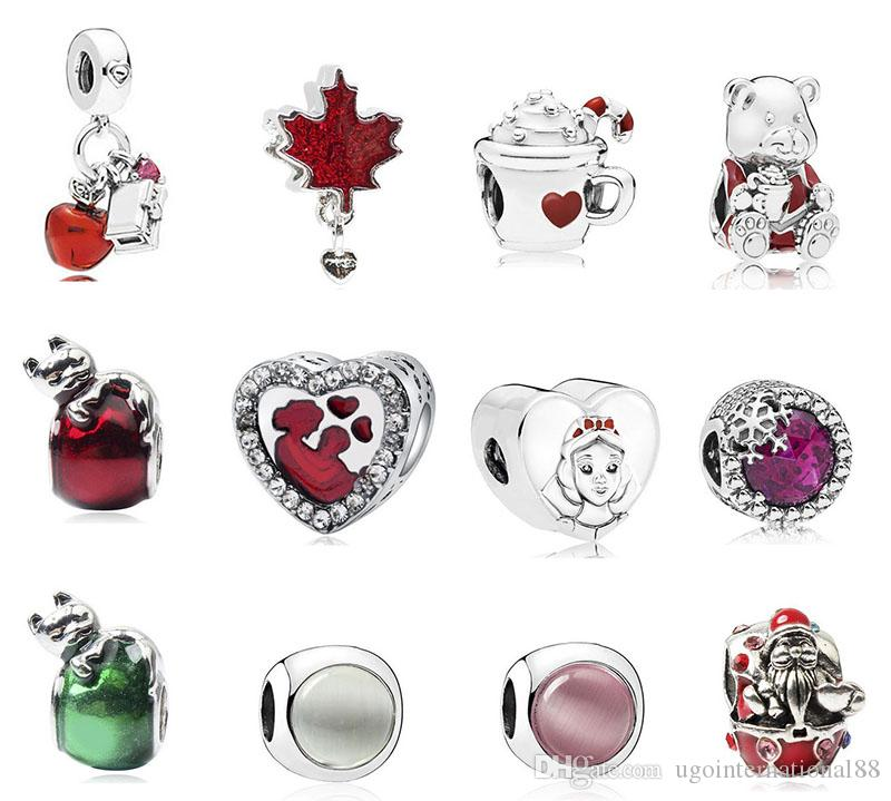11cd5105e 2019 New Snowflakes Heart Baby Mother Santa Claus Red Silver Charms Bead  Pendant Beads Fit European Charm Pandora Bracelet Jewelry DIY Xmas From ...