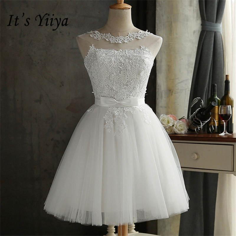It's YiiYa New White Straplesss A-line Slim Lace Up Bridesmaid Dresses Elegant Lace Slim Sleeveless Short Frocks