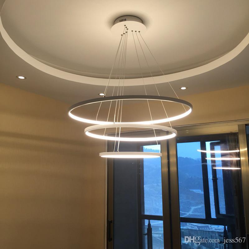 Minimalisme Aluminium Suspension Moderne Multivariant Style Led Jess Lumières Acrylic Lustre Aviation Circulaire Alliage D Anneau Lampe wOnyv8mN0