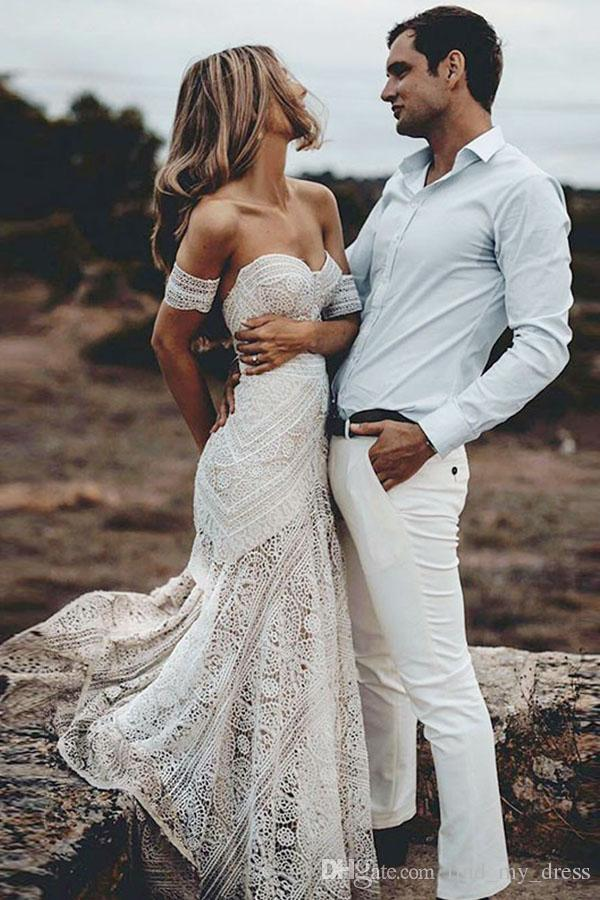 2019 Boho Summer Off Shoulder Bohemian New Beach Backless Wedding Dress Lace Transparent Modern Long Bridal Gown Custom Made Casual Fishtail