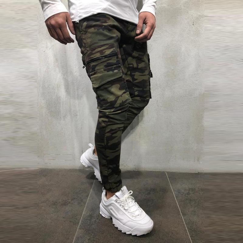 Summer New Fashion Fashion Sport Jogging Cargo Pocket Camouflage Pant Casual Loose Jeans Pant Sweatpant Cotton Z0315