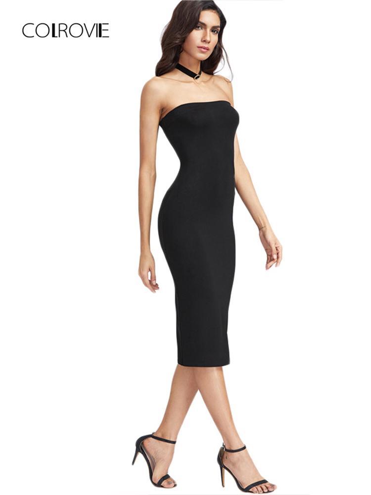 1a424396914 2019 Colrovie Bandeau Party Dress Women Black Strapless Sexy Bodycon Midi  Summer Dresses Fashion Brief Slim Elegant Club Dress Y19012201 From  Shenyan01