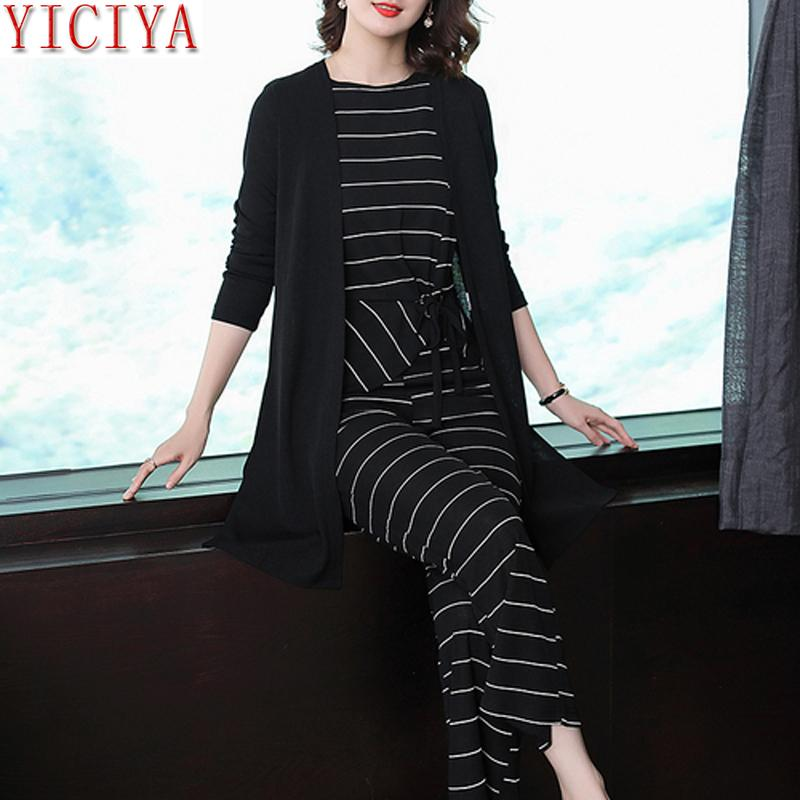 4c3b0961aadb0 2019 Striped Winter Black Suit Women Tracksuits Set Outfits Co Ord Set  Pants Suits And Top Plus Size Autumn Clothes From Ycqz2