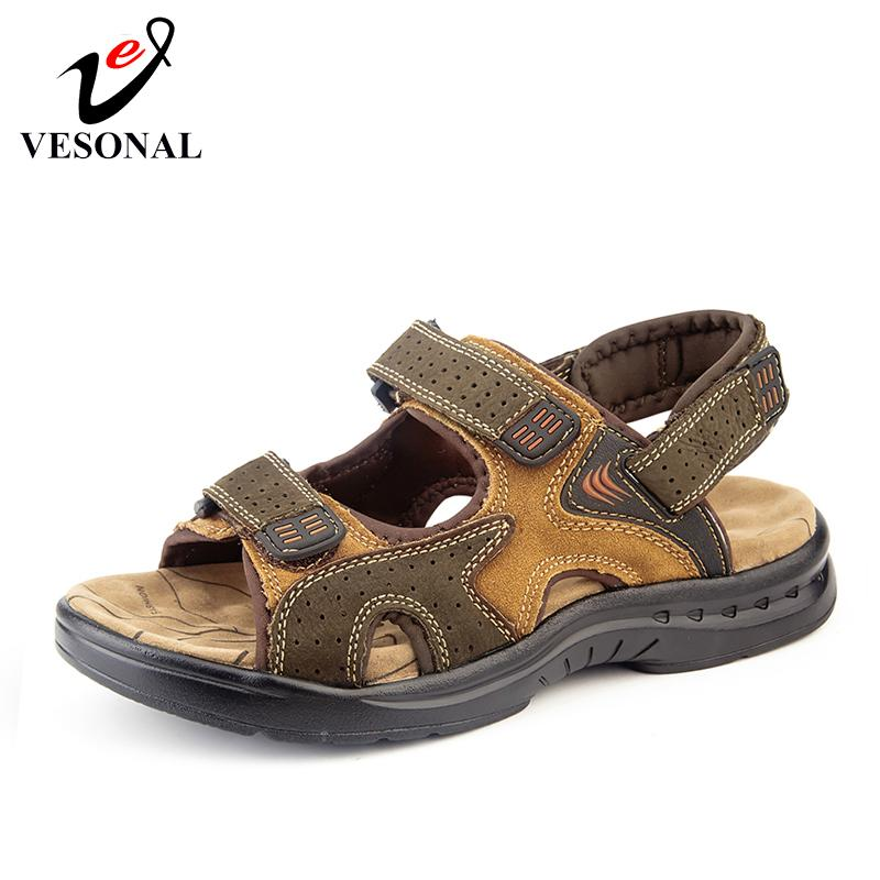 f2f93fcb8301 VESONAL 2019 Summer New Genuine Leather Shoes Men Sandals For Male Casual  Classic Out Door Water Walking Beach Sandalias Sandal Wholesale Shoes  Sandles From ...