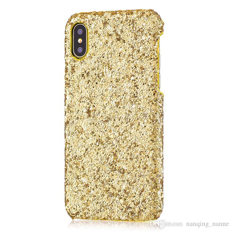 Gold bling schimmer pulver bling telefon case für iphone x xs max xr 8/7 6 6 s 5 5 s plus handy groß luxus sparkle strass abdeckung