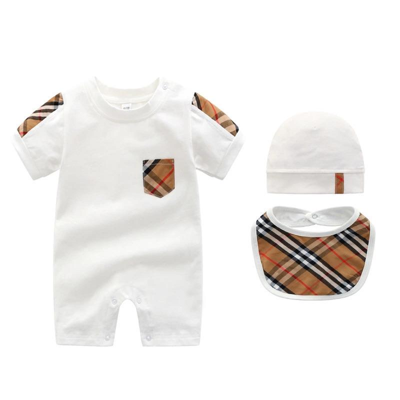 sky_baby 3pcs Baby Rompers Hat Bibts Baby Boys Girls Clothing Set Cute Jumpsuit Infant Cotton Short Sleeve Sleeve Kids Clothes For 0818