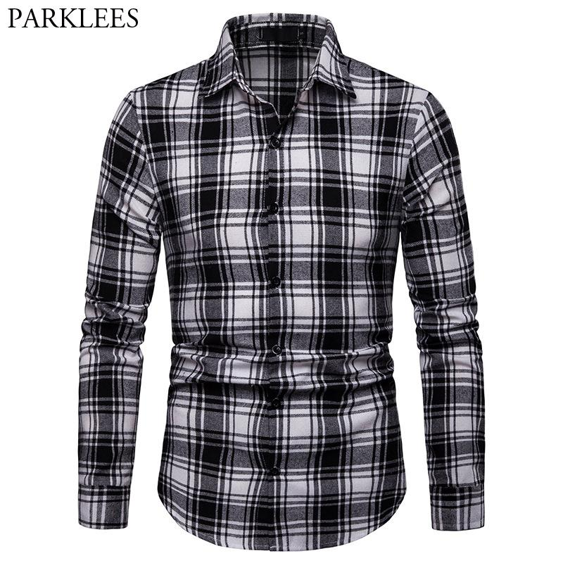 1c7ea753 2019 Mens Plaid Shirts 2019 Brand New Casual Button Down Dress Shirt Men  Slim Fit Long Sleeve Shirt Male Streetwear Chemise Homme XXL From Bida  Josh, ...