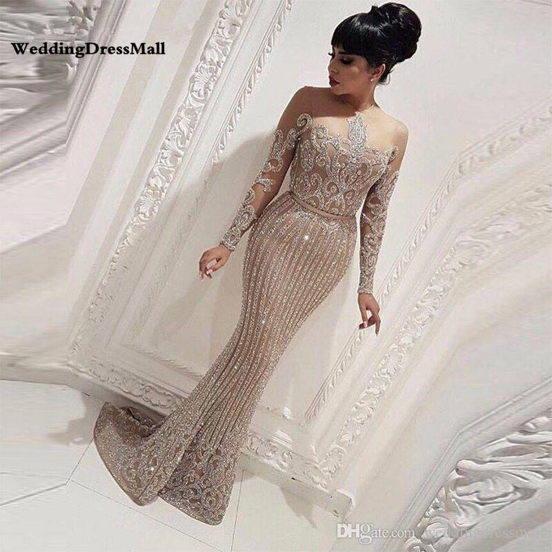 Long Sleeve Mermaid Arabic Dubai Woman Evening Dresses 2019 Formal Elegant Prom Dress Party Gown abendkleider lang luxus