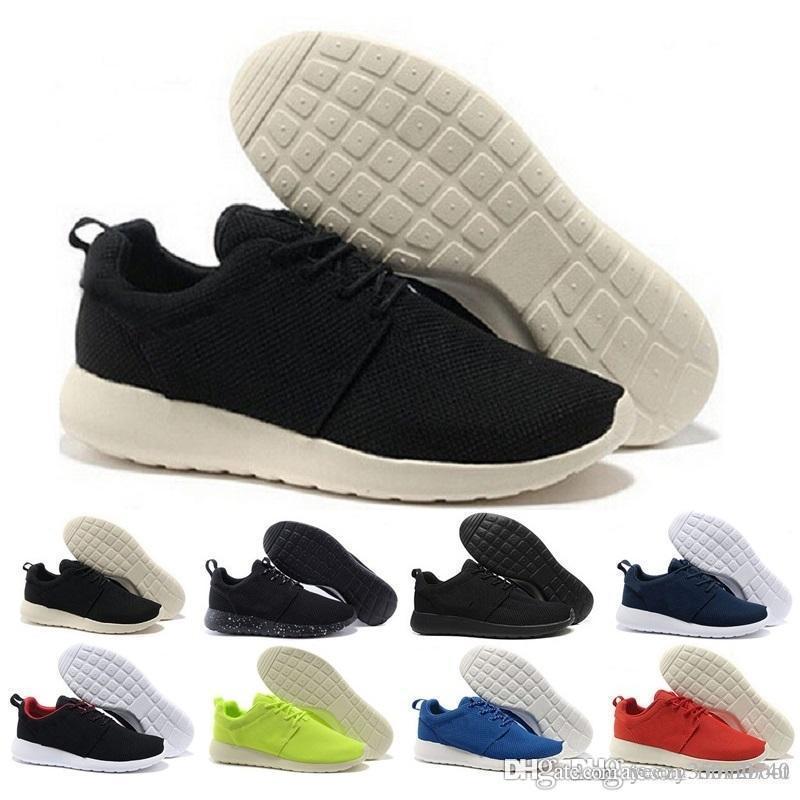 nike air roshe run one 2018 pas cher en gros hommes femmes chaussures de course noir avec blanc noir blanc avec la mode gris London Olympic Trainers