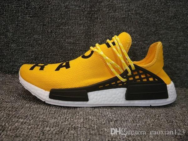 2018 Human Race Factory Real Boost Amarillo Rojo Negro Naranja Hombres Pharrell Williams X Human Race Zapatillas de deporte tamaño 36-45 Con Box2018
