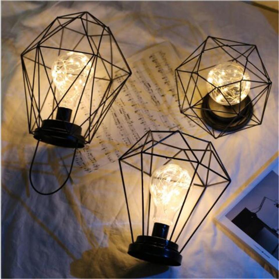 2019 New Black Nordic Retro Table Lamp Iron Minimalist Copper Wire