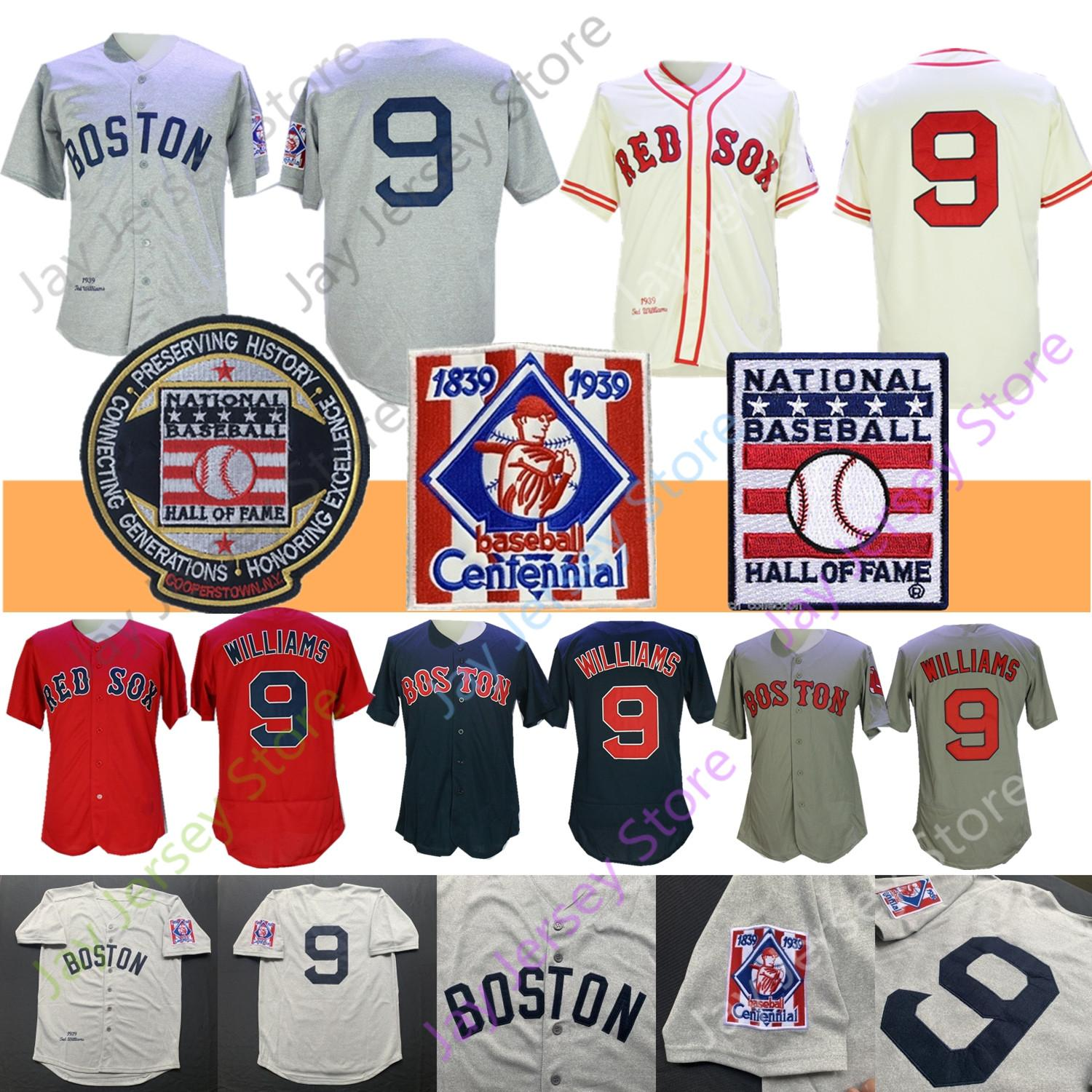 Ted Williams Jersey Coopers-ville 1939 Baseball Chanvre-Gray Hall Of Fame Blanc Bleu Crème Gris Orange Tous les hommes Taille M Cousu-3XL