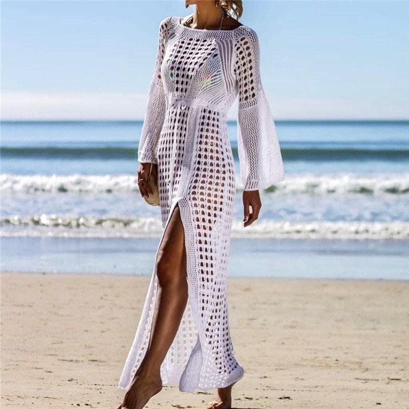 45a8179ff605 2019 Crochet White Knitted Beach Cover Up Vestido Túnica Largo Pareos Traje  de baño Coverup Swim Cover Up Robe Plage Ropa de playa