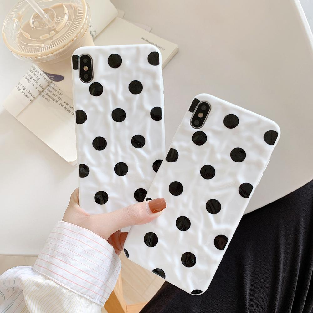 Cute wave point Soft Phone Case For iphone 11 11Pro Max XS Max X XR 7 6 6S 8 Plus Wrinkle Dot Back Cover