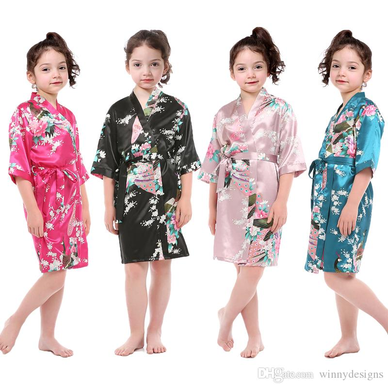 a0e5d1d10d Chinese Style Wholesale Children Sleep Wear Little Girls Satin Pajamas High  Quality Floral Nightgown for Summer
