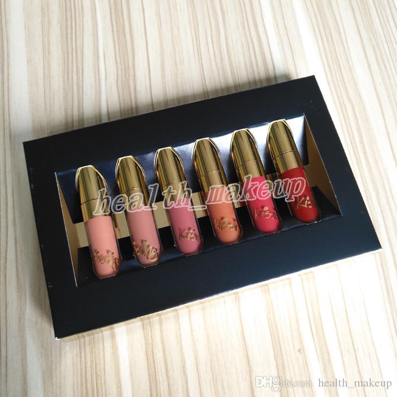 جديد الأصلي الجمال المزجج الذهب التجميل الطبعة 6 قطع مجموعة عيد lipgloss مستحضرات ماتي السائل أحمر الشفاه ملمع شفاه عدة dhl شحن