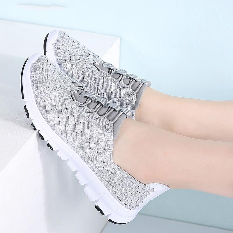 2019 Spring women casual sneakers shoes women flats woven Shoes ladies loafers flat weave lace up walking 889