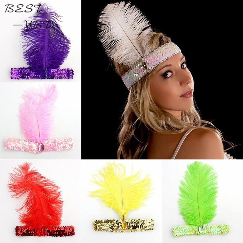d54301cf Plumas de la venda de la pluma de Lentejuelas Charleston Accesorios de  Vestir Traje de Venda Del Cabello Diadema Mujer Damas Joyería Del Partido  de ...