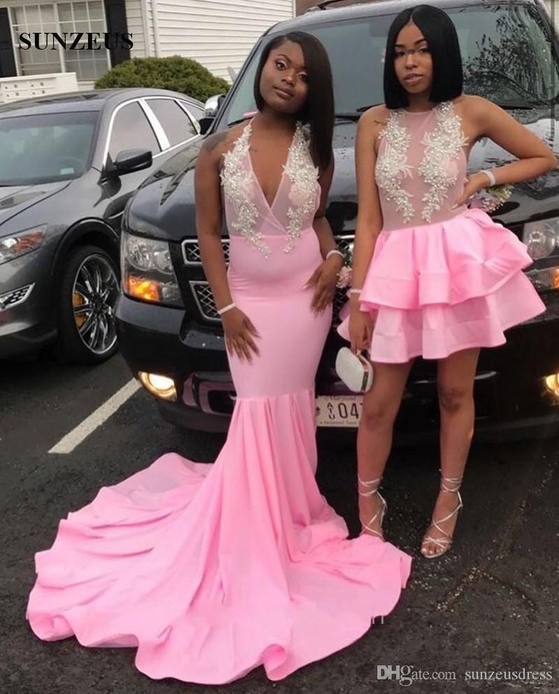 Mermaid Pink Prom Dresses 2019 Black Girls Long Jersey Party Gowns Halter Neckline Sheer Top Sexy Formal Wear Appliques