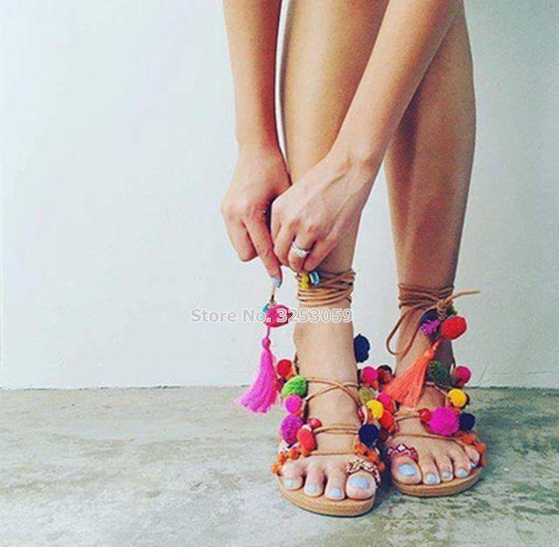 592871c85887 Wholesale Bohemian Style Multi Color Pom Pom Flat Sandals Lace Up Fringe  Colorful Ball Beach Dress Shoes Flip Flops Tassel Sandal Saltwater Sandals  Designer ...
