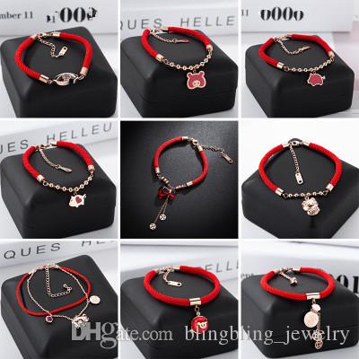 74c38526b252 Chinese Style New Red Rope Bracelet Female Titanium Steel Lock Double Ring  Bracelet Rose Gold Xiaofu Pig New Year Gift Fashion Bangles Mens Bangles  From ...