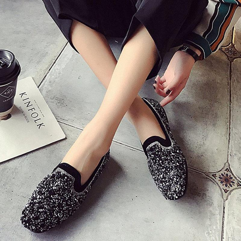 39224b9f6 2019 New Women Bling Flats Slip On Ladies Glitter Loafers Spring ...