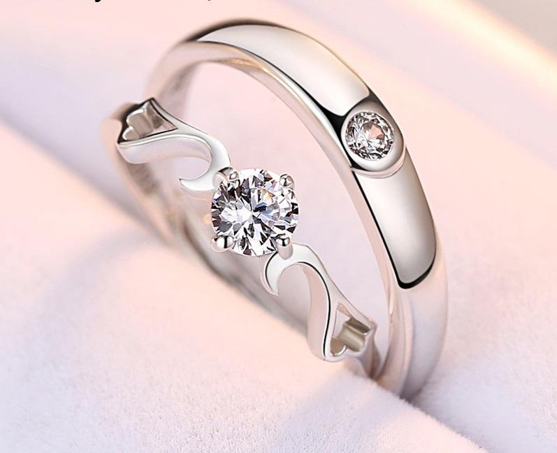 One Piece Sterling Silver Ring Angel Wing Opening Male And Female