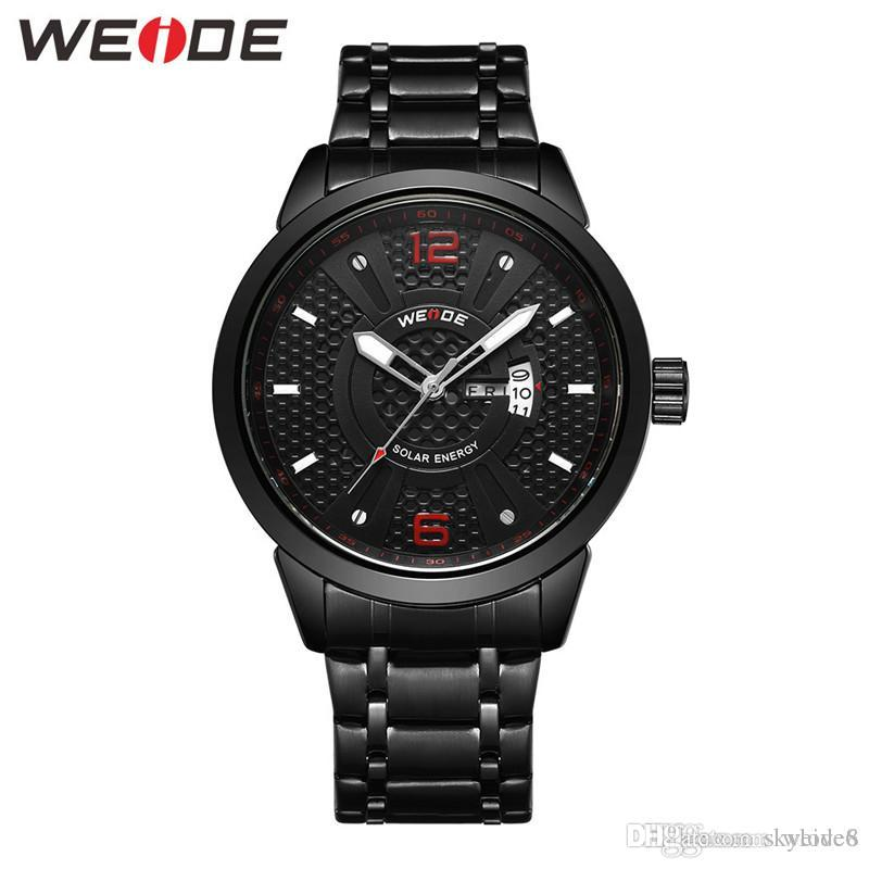 WEIDE-SE0703G new hot men's solar watch brand new element classic gold stainless steel 30M waterproof watch
