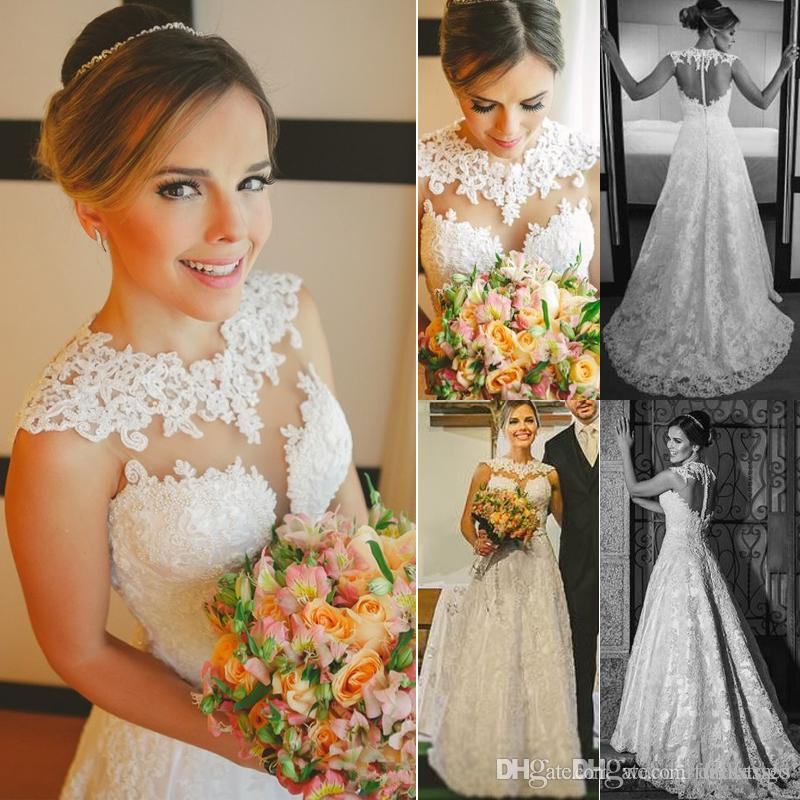 Stunning 2017 A Line Top Lace Wedding Dresses Vestido De Noiva Wedding Gown Plus Size Country Western