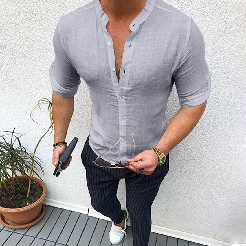 2019 Solid Men Shirt Long Sleeve Cotton Casual V-neck Linen Shirt Men Streetwear Fitness Pullovers Camisa Hombre Plus Size