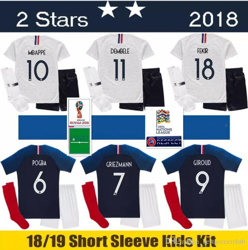 size 40 8ba99 0bc14 2 stars MBAPPE kids kit pogba Jersey 2018 2019 World Cup DEMBELE GRIEZMANN  KANTE FR national 18 19 football shirts maillot equipe de MBAPPE