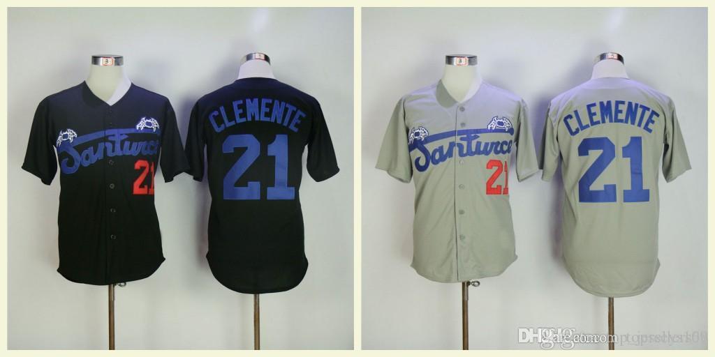 new york 0866d 3beda Mens Puerto Rico Cangrejeros de Santurce black white University Baseball  Jersey Crabbers #21 Roberto Clemente Gray Road Baseball Jerseys