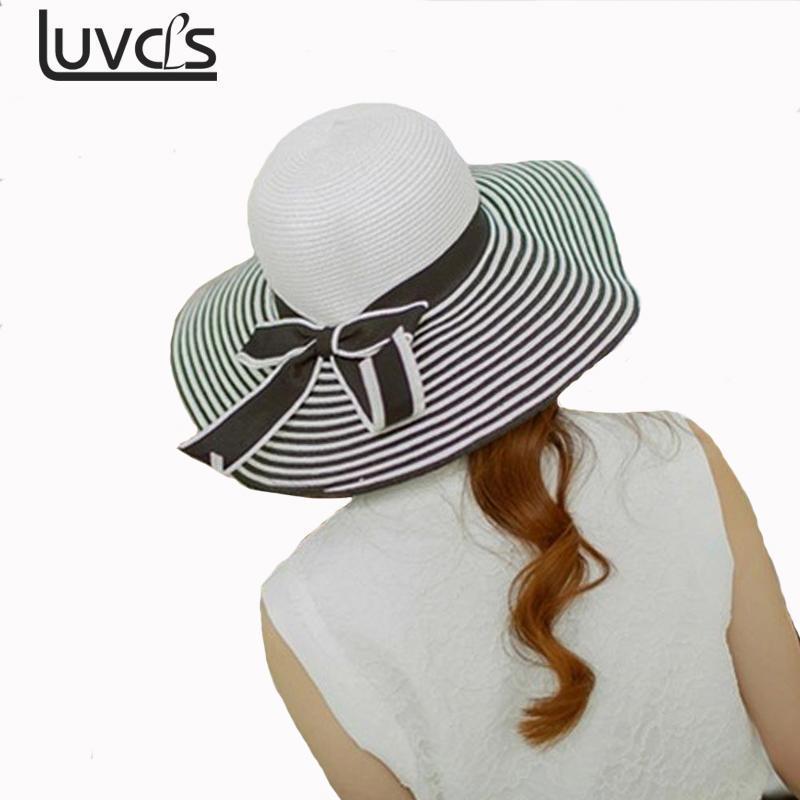 Compre Nuevo Verano Para Mujer Sombreros Para El Sol Sombrero De Visera Gran  Ala Negro Blanco Rayas Sombrero De Paja Sombrero De Playa Ocasional Al Aire  ... be57fb45a396