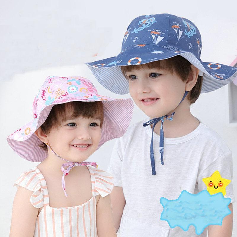 ed2f6b43537 2019 Kids Bucket Hat Fashion Korean Children Double Sided Floral ...