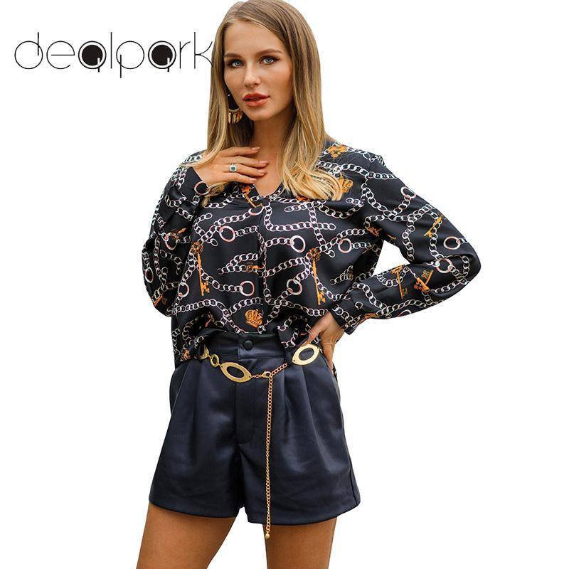 01cd67dcfbe4fe 2019 Tunics Womens Tops And Blouses Satin Faux Silk Contrast Chain Print V  Neckline Long Sleeve Spring Autumn Loose Tops Female Shirt From Vanilla10