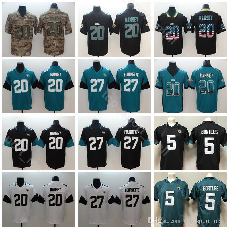 reputable site 14629 074bf Men Jacksonville Football 27 Leonard Fournette Jersey Jaguars 5 Blake  Bortles 20 Jalen Ramsey Vapor Untouchable Black Green Yellow White