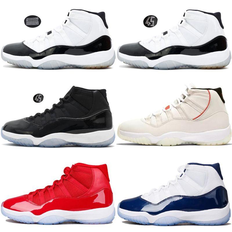 the best attitude 44b7a 6c373 Acheter Nike Air Jordan 11 Retro 11s Casquette Et Robe Space Jam Hommes  Chaussures De Basketball Platine Teinté Gym Red Bred Concord 45 Hommes  Designer ...