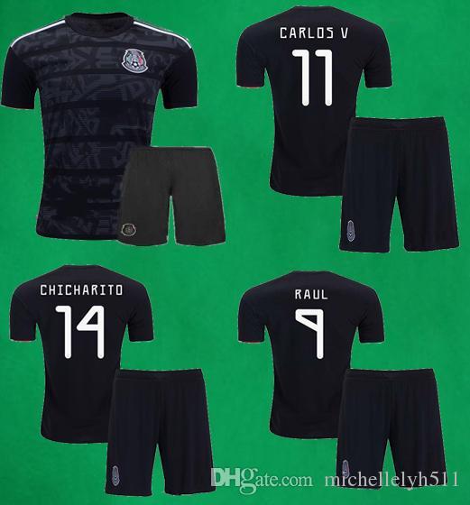 b48249038bb97 2019 2019 Mexico Soccer Jersey Shorts 19 20 CHICHARITO MARQUEZ DOS SANTOS  LAYUN LOZANO Soccer Sets Mens Thai Quality Black Football Kits From  Michellelyh511 ...