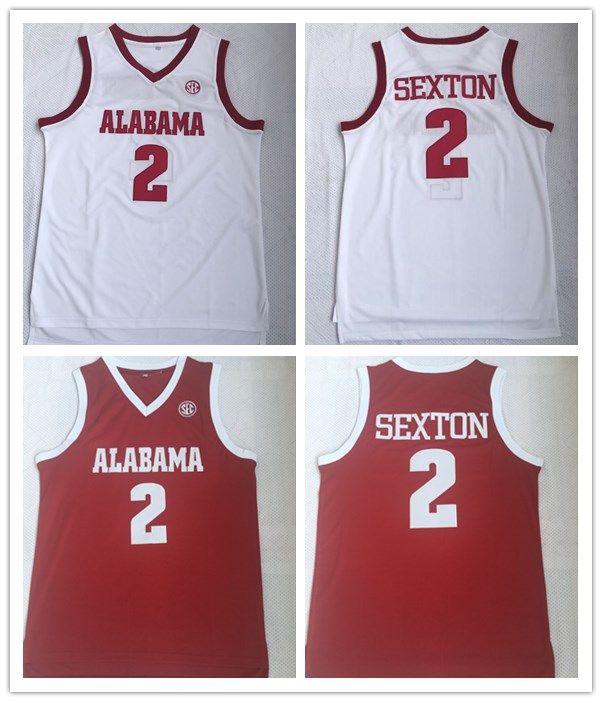 6b20f66db57 2019 Men Alabama Crimson Tide Basketball Jerseys  2 RED WHITE Jersey Cheap  From Sportswear vip mall
