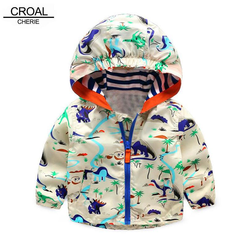 90-120cm Cute Animal Kids Clothes Boys Autumn Sports Active Outerwear & Coats Comfortale Dinosaur Boys Jacket For Children