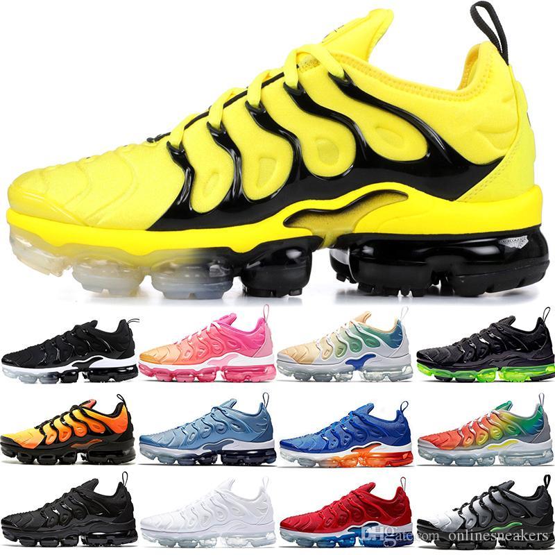 Nike Air Vapormax TN PLUS Max pas cher Hommes Femmes Chaussures De Course BE TRUE Jaune Triple Noir Blanc Hyper Rouge Hommes Designer Trainer Sport