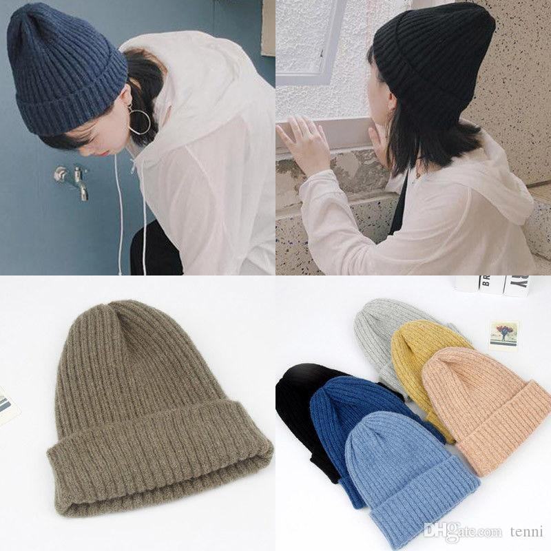 1f738873f23 Female Unisex Cotton Blends Solid Warm Soft HIP HOP Knitted Hats Men Winter  Caps Women S Skullies Beanies For Girl Wholesale Knit Cap Slouch Beanie  From ...