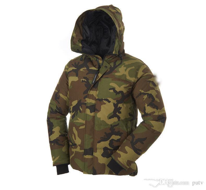 2019 Yeni Erkek Bombacı Homme Parka Jassen Kamuflaj Giyim Büyük Kürk Kapşonlu Fourrure Manteau Aşağı Ceket Kaban Hiver Kanada Doudoune