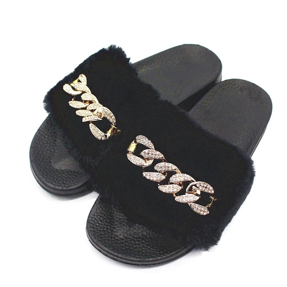 33169c078125ce Womens Diamante Chain Slider Slip On Rubber Mule Ladies Sandals Slippers  Shoes Shoe Boots Fur Boots From Caspink