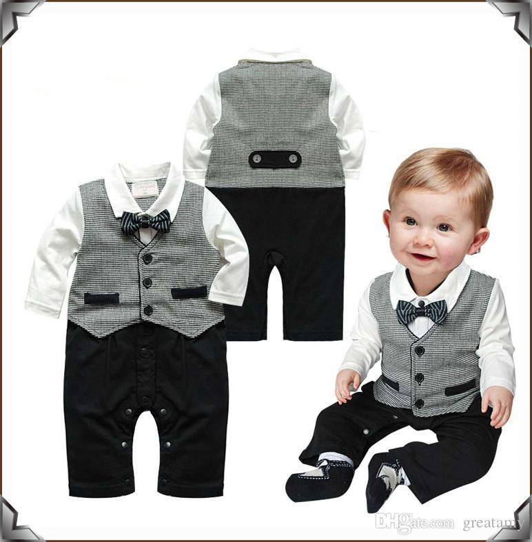 Compre Caballero Formal Traje De Bebé Traje De Mameluco Pantalones De Una  Sola Pieza De Moda Chaleco Pajarita Niños Ropa Caben Niños 0 18 M A  7.34  Del ... dbc0ef3666e