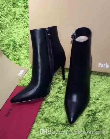 promo code f1a77 2e8d7 2018Designer Sexy Ladies Red Bottoms Boots High Heels Pumps Luxury Pointed  Toes Black Genuine Leather Ankle Boots Winter Boots for Womens